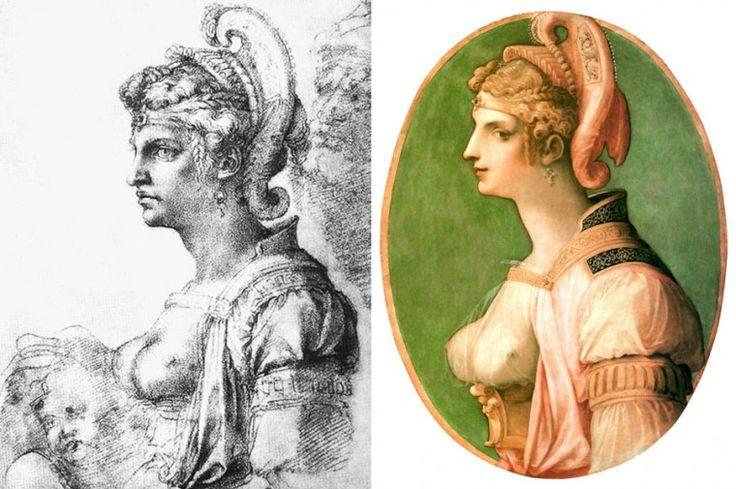 """Disegno di Michelangelo a sinistra, la testa ideale """"Zenobia"""" del Ghirlandaio sulla destra - 1560-1570 - Galleria dell'Accademia - Firenze."""