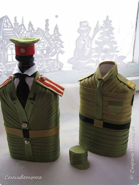 Декор предметов 23 февраля Аппликация бутылочки к 23 февраля Ленты фото 1