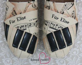 Personalizzato musica personalizzata scarpe - tasti del Pianoforte - Spartiti - dipinto scarpe Toms - scarpe - calzature dipinte a mano