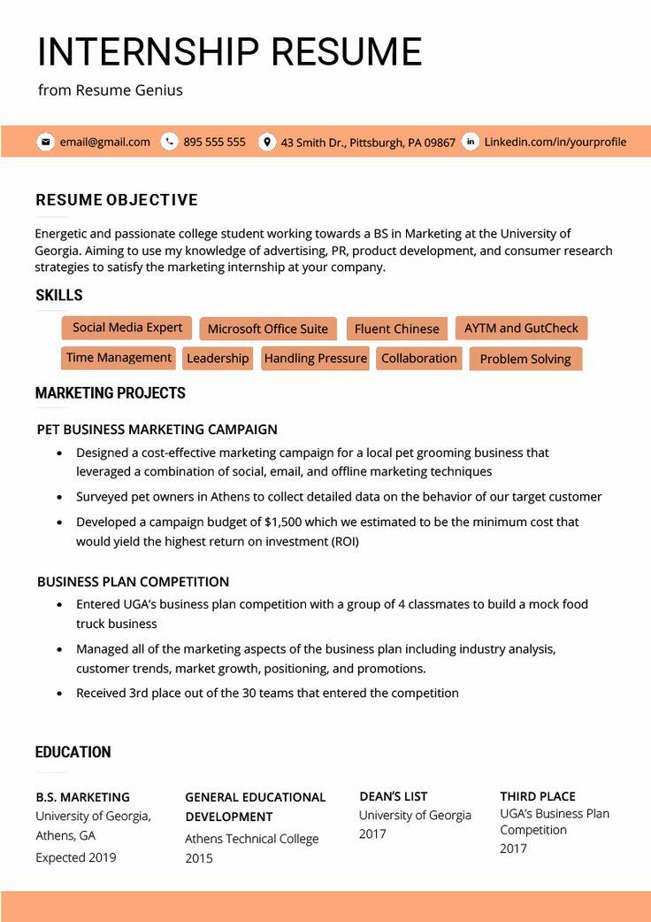 Cover Letter for Internship Template New Internship Resume