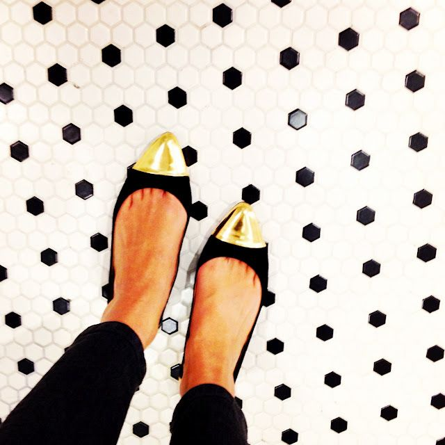 #artofthedot restaurant tilePretty Shoes, Floors Pattern, Blackgold, Polka Dots, Black White, Black Gold, Kate Spade, Katespade, Gold Shoes