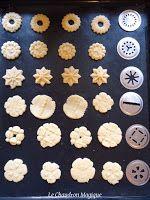 Le Chaudron Magique.: Sablés à la presse à biscuit; recette de Martha Stewart.