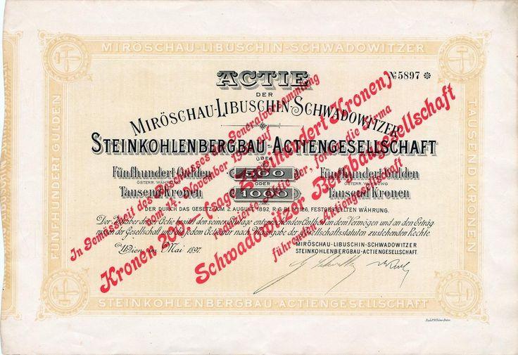 Schwadowitzer Bergbaugesellschaft AG. (Svatoňovická báňská společnost akc. spol.; dříve Miröschau-Libuschin-Schwadowitzer Steinkohlenbergbau AG.) Akcie na 500 Zlatých nebo 1000 Korun. Vídeň, 1897.