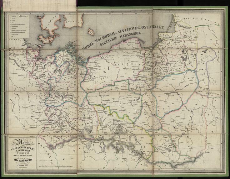 Mappa Sławiańszczyzny Lechickiej z wieku X-XII i Prus z wieku X-XIII ułożona przez Jana Papłońskiego wyryta przez Łozińskiego