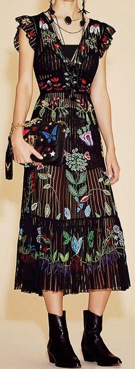 V-Neck Floral Embroidered Dress in Black