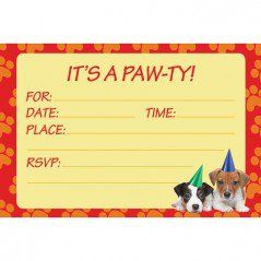 Puppy Party Invitations & Envelopes (8 Pack)