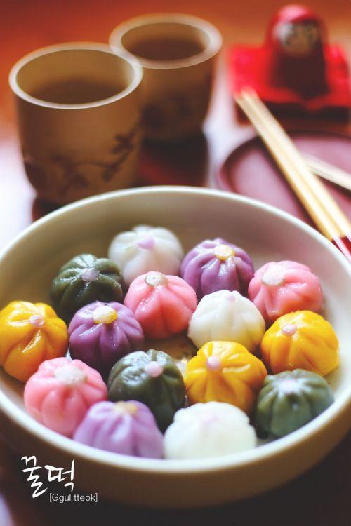 Ggul tteok, Korean sticky rice balls with lemon honey
