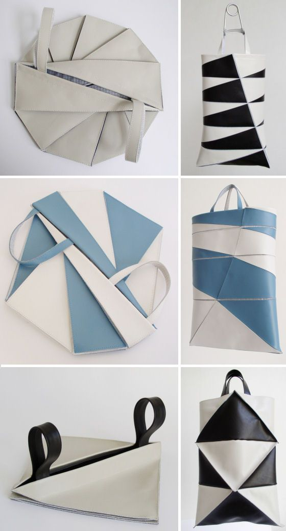 Dutch label Frrry features bags from their polygon series which cleverly adopts origami-like folds in the designs.                                                                                                                                                      More