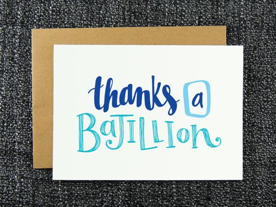 Thanks a Bajillion - Thank You Card - Funny Thank You Card - Humorous Thanks…