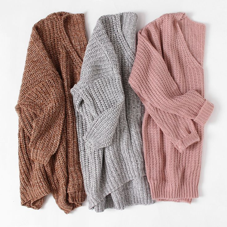 Khaki V Neck Batwing Sleeve Dip Hem Oversized Sweater