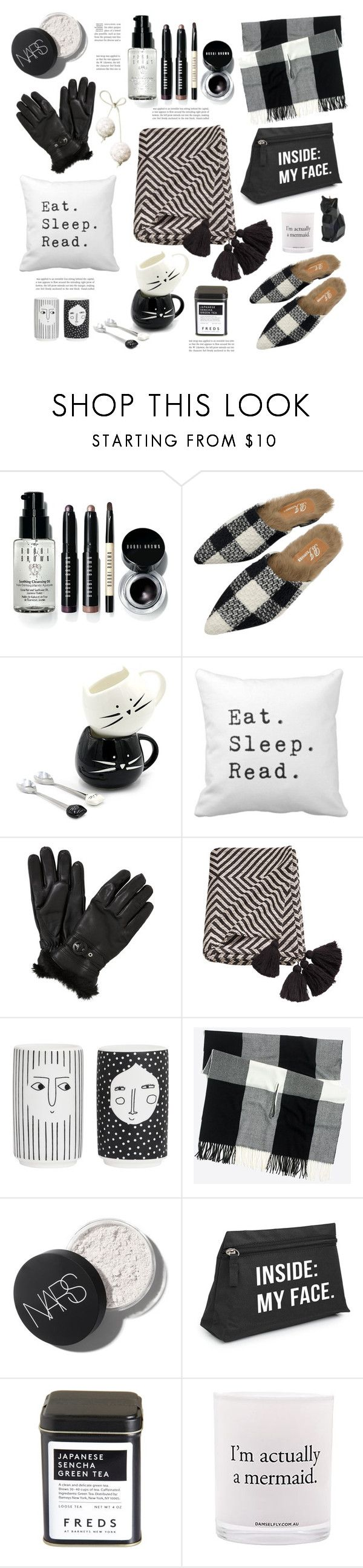 """GIFT IDEAS B&W"" by tiziana-melera ❤ liked on Polyvore featuring Bobbi Brown Cosmetics, John Lewis, FREDS at Barneys New York, Damselfly Candles and PyroPet"
