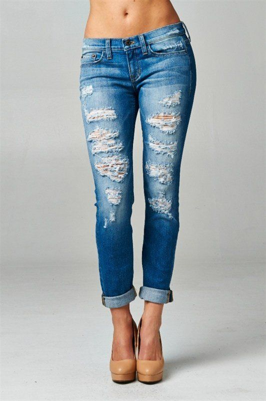 Bottoms - Medium Wash Destroyed Jeans