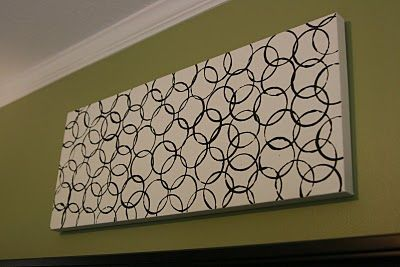 Easy DIY artwork... just a canvas, paint and styrofoam cup
