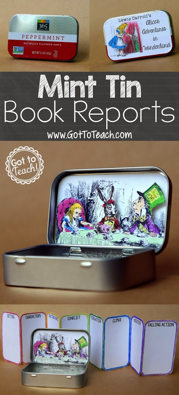 Another great alternative to traditional book reports.  Just gotta get enough mint tins!  Mint Tin Book Report