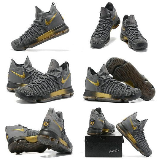 New NBA Playoffs Nike Cheap KD 9 Elite Flip the Switch Dark Grey Metallic  Gold Newest � Kevin Durant ShoesNba ...