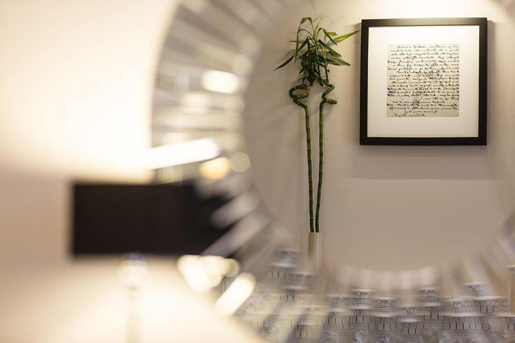 neutral interior, sherlock theme artwork, mirror