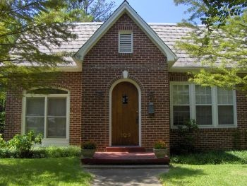 Brick House White Trim Stained Wood Door Curb Appeal