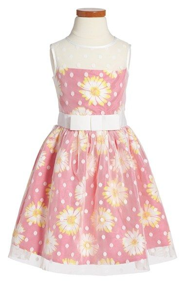Us Angels Sleeveless Floral Print Illusion Dress (Toddler Girls, Little Girls & Big Girls) available at #Nordstrom