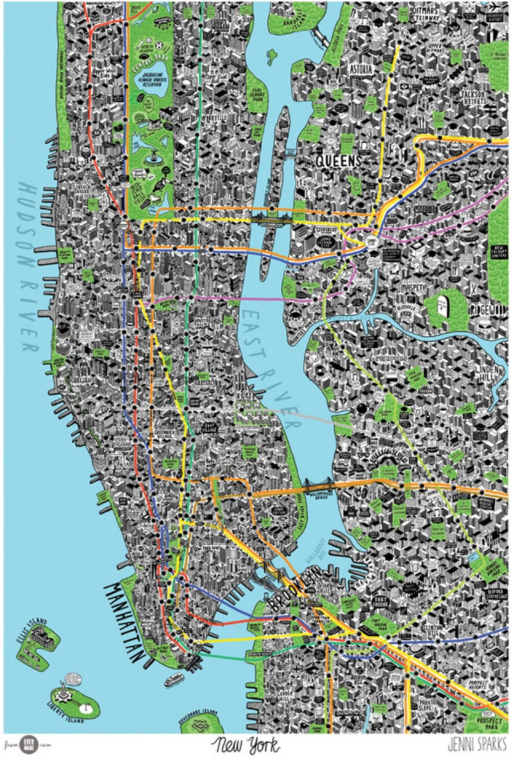 Hand Drawn Map of New York City by Jenni Sparks