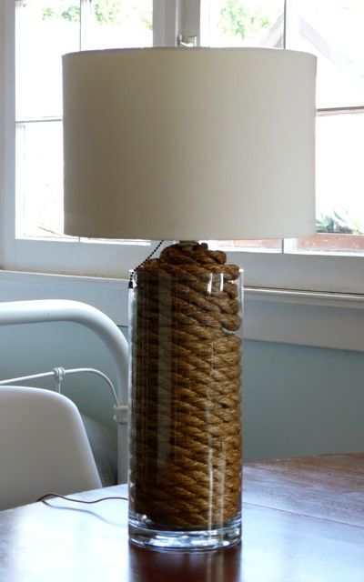 DIY Nautical Rope Lamp. I Would Wrap My Ugly Side Table Lamps