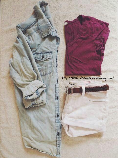 Tee + shorts + chambray long-sleeves