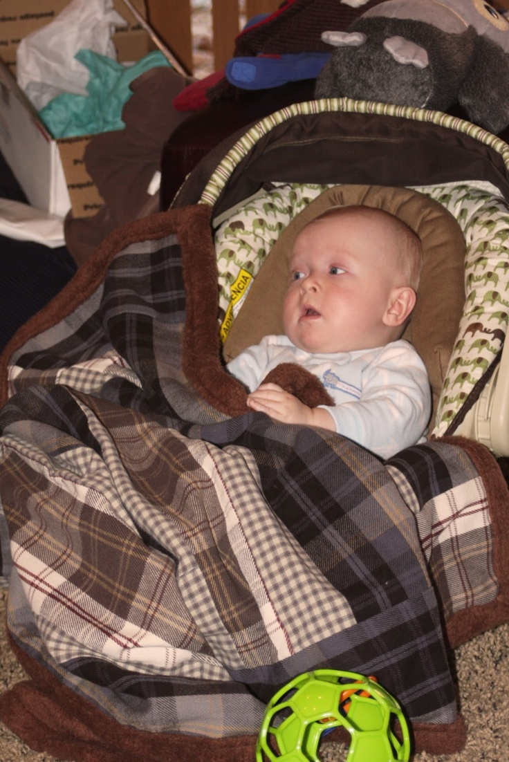 Baby Boy Blanket made from old flannel shirts that belonged to his late great grandpa.  So sweet.
