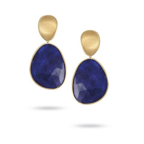 Another side to Marco Bicego's Lunaria collection are these dreamily deep blue lapis lazuli earrings, paired with of course his iconic hand-crafted gold petals. #jewelry #italian. Discover more: http://www.thejewelleryeditor.com/videos/fine-jewellery/going-for-gold-why-marco-bicego-jewellery-is-so-versatile/?action=play