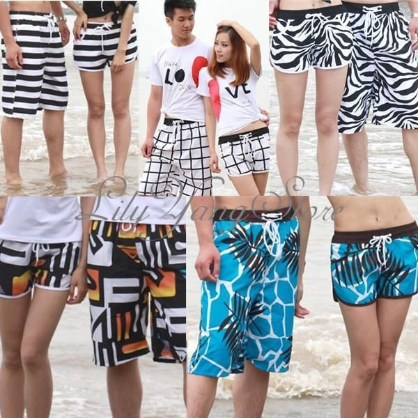 Lovers Couple Beach Surf Board Swim Shorts