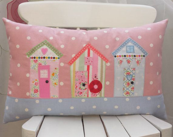 "Beach Huts Oblong Pillow Cover 20""x12"" Lumber Cushion Bolster Pillow Nautical Seaside  Pillow Cath Kidston Clarke & Clarke Handmade Appliqué"