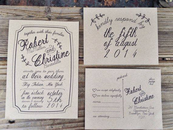 Wedding Invitations With Rsvp Postcards: Rustic Wedding Invitation & RSVP Postcard On Etsy, $100.00