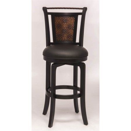 Norwood Swivel Counter Stool, Black Finish with Cooper Accent, Multicolor