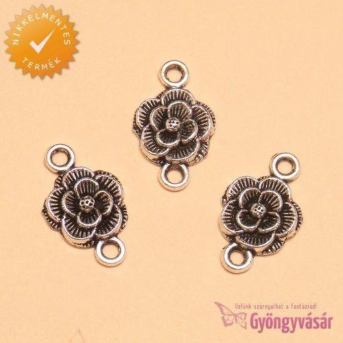 Ezüstszínű rózsa - nikkelmentes fém köztes • Gyöngyvásár.hu