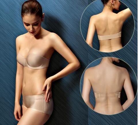 Backless Bra Cup Strapless Back Straps Push up Invisible Underwear Clear