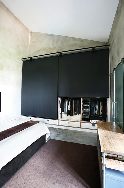 Mood Board Large: Clever Closets | Home & Decor Singapore Go minimalist with black blinds that cover your wardrobe. No need for actual doors! This saves spaces and isn't difficult to install!