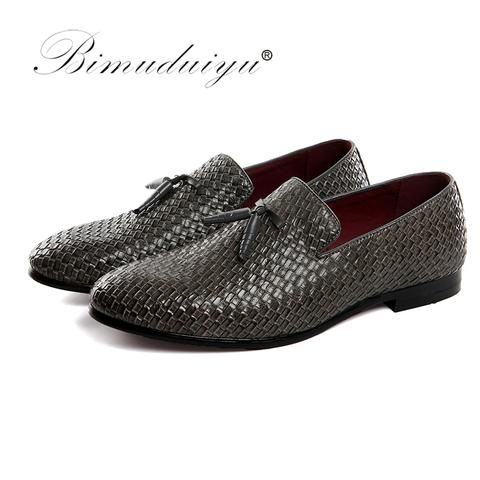 BIMUDUIYU Men Shoes luxury Brand Braid Leather Casual