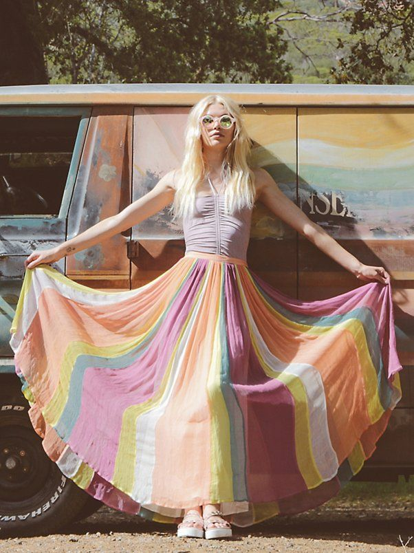 Rainbow Maxi skirt by Free People. Boho, festival style