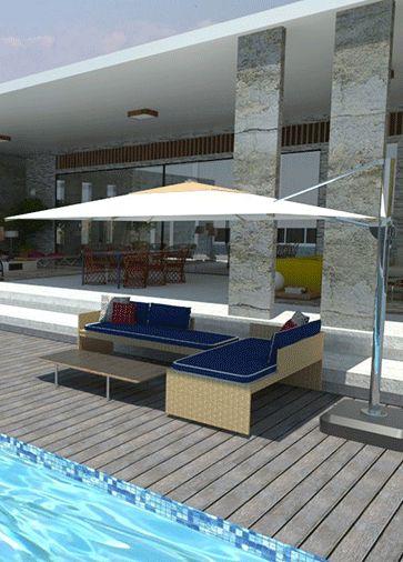 Móveis de piscina com fibra natural, forração em azul marinho, ombrelone, deck da piscina em madeira clara envelhecida.
