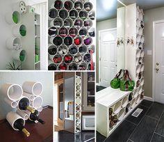 Из небольших отрезков труб широкого диаметра получаются превосходные стеллажи для хранения обуви, полотенец в ванной комнате, а так же симпатичные держатели бутылок. Или вот еще, фееричная идея для оформления прихожей!
