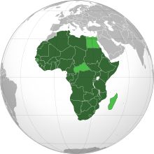 The African Union (AU, or, in its other official languages, UA) is a union consisting of 54 African states. The only all-African state not in the AU is Morocco. The AU was established on 26 May 200.  The most important decisions of the AU are made by the Assembly of the African Union, a semi-annual meeting of the heads of state and government of its member states. The AU's secretariat, the African Union Commission, is based in Addis Ababa, Ethiopia.