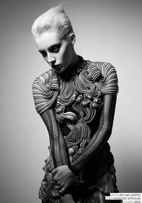 Fashion as Art - dress with intricate textural patterns with rippling contours & 3D structure - sculptural fashion; artful fashion design // Iris van Herpen
