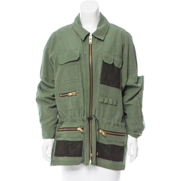 Pre-owned Smythe Zip-Accented Utility Jacket ($225) ❤ liked on Polyvore featuring outerwear, jackets, green, zipper jacket, snap jacket, green utility jacket, green drawstring jacket and utility jacket