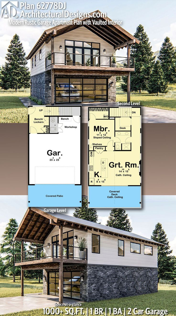 Plan 62778DJ: Modern Rustic Garage Apartment Plan with Vaulted Interior