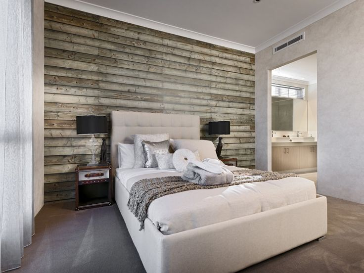 LOVE THE RUSTIC WALL IN BEDROOM