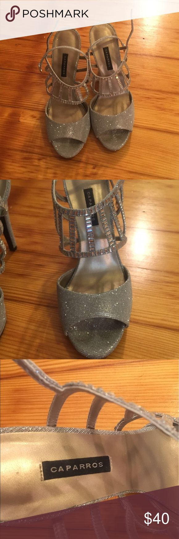 Caparros silver sparkle heels. Size 8.5 Worn once. Size 8.5 caparros heels, silver sparkles. Worn one night for prom. Caparros Shoes Heels