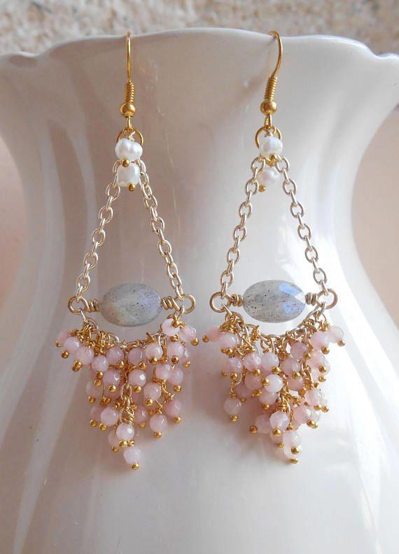 Yvette gemstone chandelier earrings pink gray bridal cluster