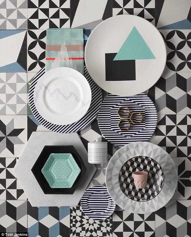 FLOOR TILES, from £69 per sq m, Encaustic Tiles. From top left: TEA TOWEL, £19, Smug. TRIA...