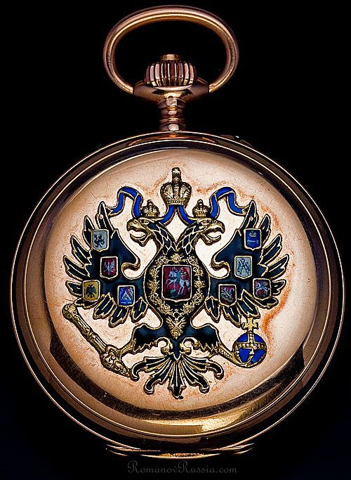 Russian Imperial Eagle Rose Gold & Enamel Pocket Watch  c. 1916   SUPERB AND RARE...17,500  Russian Imperial presentation rose gold pocket watch by Paul Buhre (Pavel Bure - Павел Буре) with enameled double headed Imperial eagle, circa 1916.