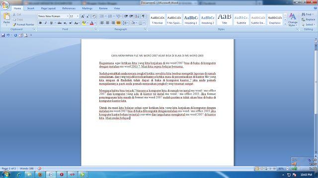 Tips Komputer CARA MENYIMPAN FILE MS WORD 2007 AGAR BISA DI BUKA DI MS WORD 2003 | kursus komputer bogor,Tips Teknologi serta berita Internet komputer.