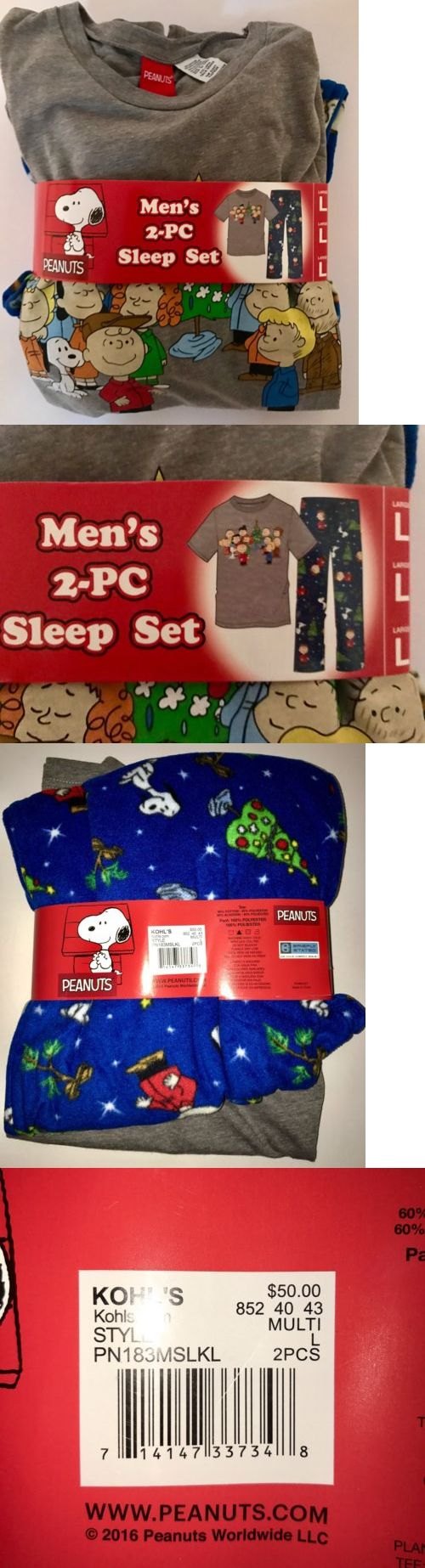 Sleepwear and Robes 11510: Peanuts Nwt Mens Pajama Fleece Pants Shirt Size L Snoopy Charlie Brown Christmas -> BUY IT NOW ONLY: $39.99 on eBay!