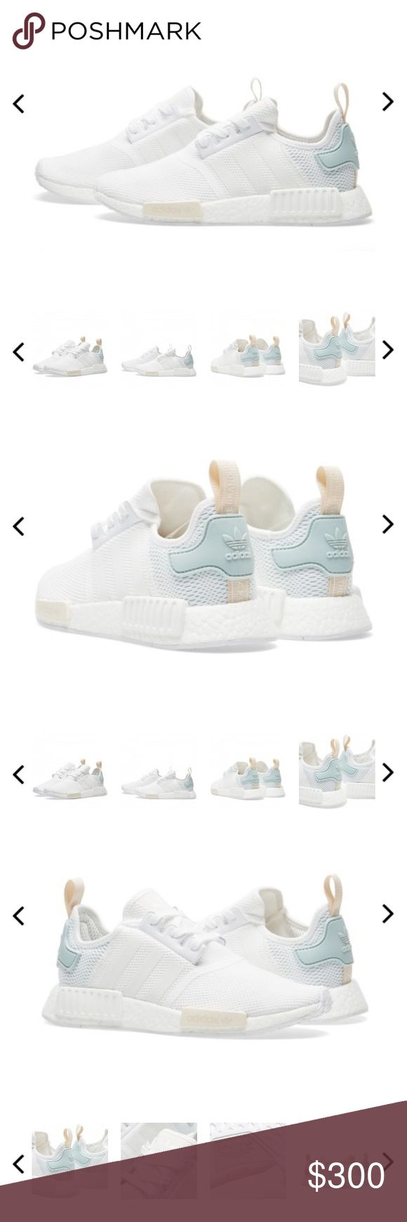 Adidas NMD white/blue Adidas NMD brand New in the box. These were a limited release can't find them anywhere in stores. Women's Size 8 true to size Adidas Shoes Sneakers
